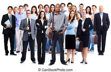Business team Group of workers people isolated white...
