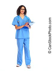 Medical doctor woman writing prescription - Medical doctor...