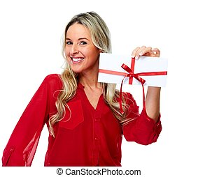 Happy Woman with envelope gift. - Woman with envelope...