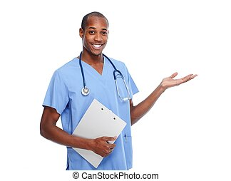Doctor presenting copy space - African-American Doctor Man...