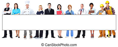 Group of workers people with banner. - Group of workers...