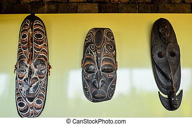 Tipico, legno, faccia, maschera,