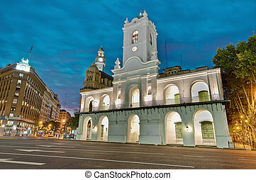 Cabildo building at night - Cabildo building facade at night...