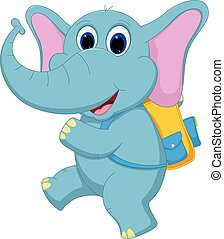Cute elephant going to school - Vector Illustration of Cute...