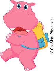 Cute hippo going to school - Vector Illustration of Cute...