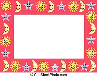 frame with cartoon characters of sky - vector