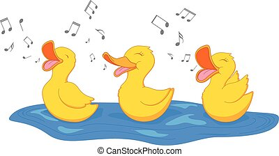 Happy duck singing - Vector Illustration of Happy duck...