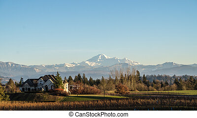 View of Mount Baker with mansion - View of Mount Baker in...