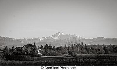 View of dormant volcano Mount Baker
