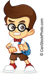 Nerd Geek - Cartoon illustration of a nerd geek
