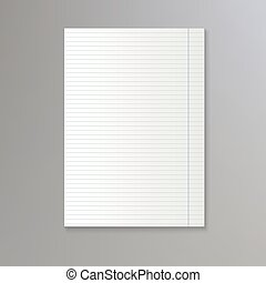 Sheet of lined paper. Vector notebook paper background