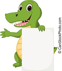 Happy crocodile cartoon with sign