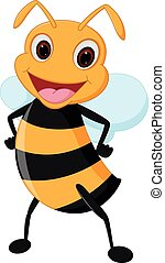 Happy bee cartoon - Vector Illustration of Happy bee cartoon...