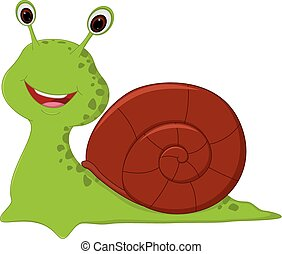 Happy Snail cartoon - Vector Illustration of Happy Snail...