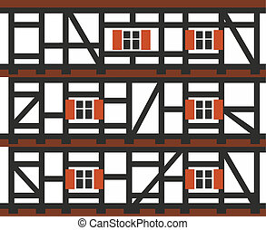 house - decorative facade of a typical half-timbered house