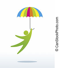 dynamics - a simplified human figure jumping with umbrella