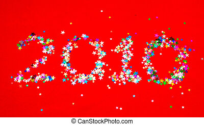 New year 2010 - Star confetti in the shape of number 2010 on...