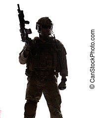 Silhouette of soldier - Silhouette of special warfare...