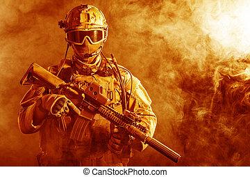 especial, fuerzas, soldado, en, el, fuego,