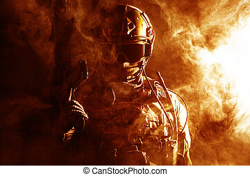 Special forces soldier in the fire - Special forces soldier...