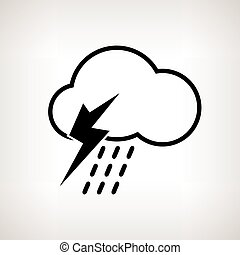 Silhouette cloud with thunderstorm , vector illustration -...
