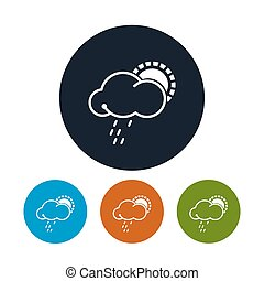 Icon sun with rain , vector illustration - Icon sun with...