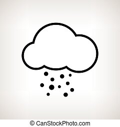 Silhouette cloud with hail , vector illustration -...