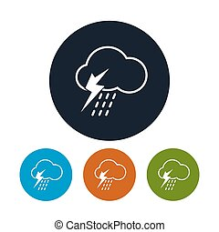 Icon cloud with thunderstorm , vector illustration - Icon...