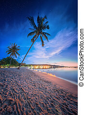 beautiful beach with colorful sky, Thailand - beautiful...