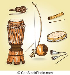 Collection of musical instruments of capoeira Hand drawn...