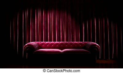 Loop light on red fabric curtain stage with sofa
