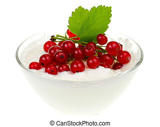 Yogurt bowl with Redcurrant berries on white background