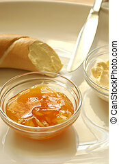 yellow plum marmelade and some french roll