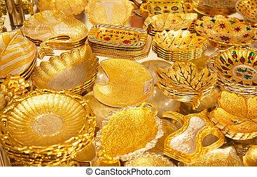 """Golden market in Dubai - Gold on the famous """"Golden souk"""" in..."""