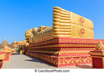 Image of Reclining Golden Buddha. - Image of Reclining...