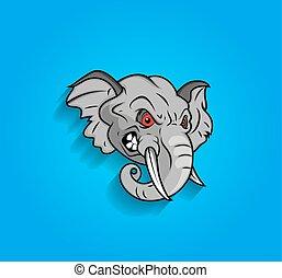 enojado, elefante, expresión, cara