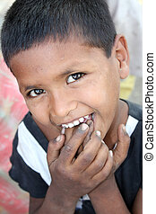 Shy Poor Kid - A portrait of a shy poor kid from India...