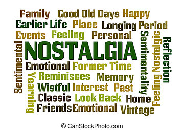 Nostalgia word cloud on white background