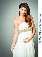evening dress - Charming young woman in elegant long white...