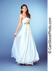 lux dress - Full length portrait of a charming beautiful...
