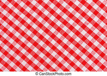 Red and white checkered tablecloth pattern texture as...