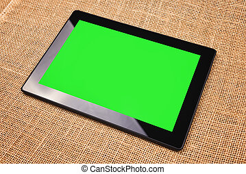 Tablet with Green Screen - Tablet Computer with Blank Green...