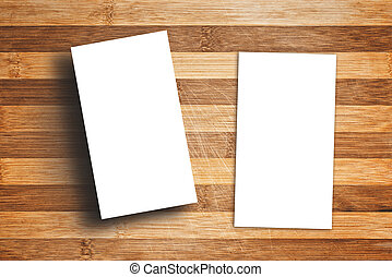 Blank Vertical Business Cards on Wooden Table - Blank...
