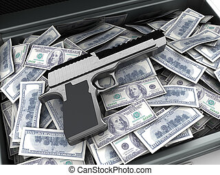 money and gun - 3d illustration of gun and money heap, crime...