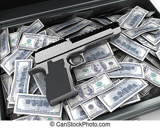 dinero, y, arma de fuego,