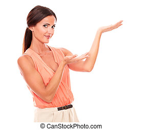 Friendly hispanic woman holding palms up