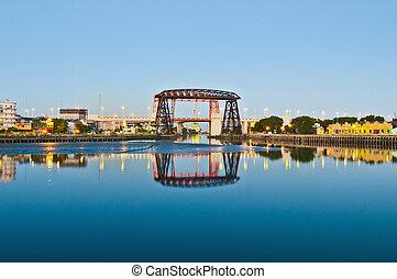 Nicolas Avellaneda bridge across Riachuelo - Sunset at...