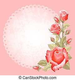 Greening card - Vintage greeting cards with rose