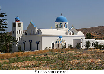 Naxos Church - A typical church with blue dome in Naxos