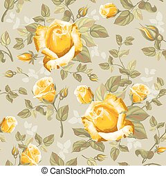 Retro flower seamless pattern - roses - Luxurious retro...